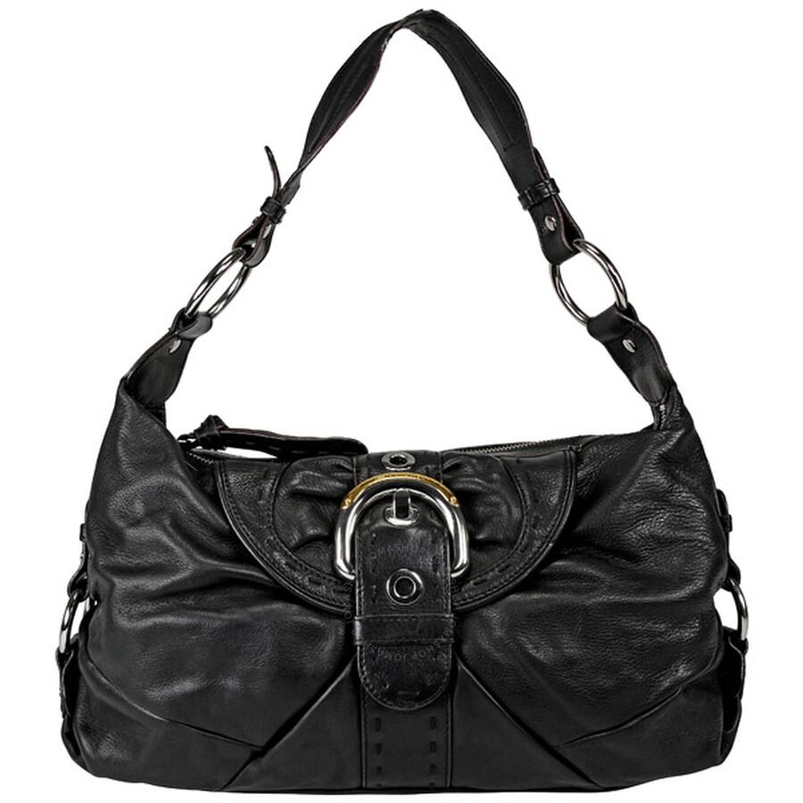 Open Box - B Makowsky Black Leather Hobo Purse BM10410-BK at Jomashop.com & JomaDeals.com