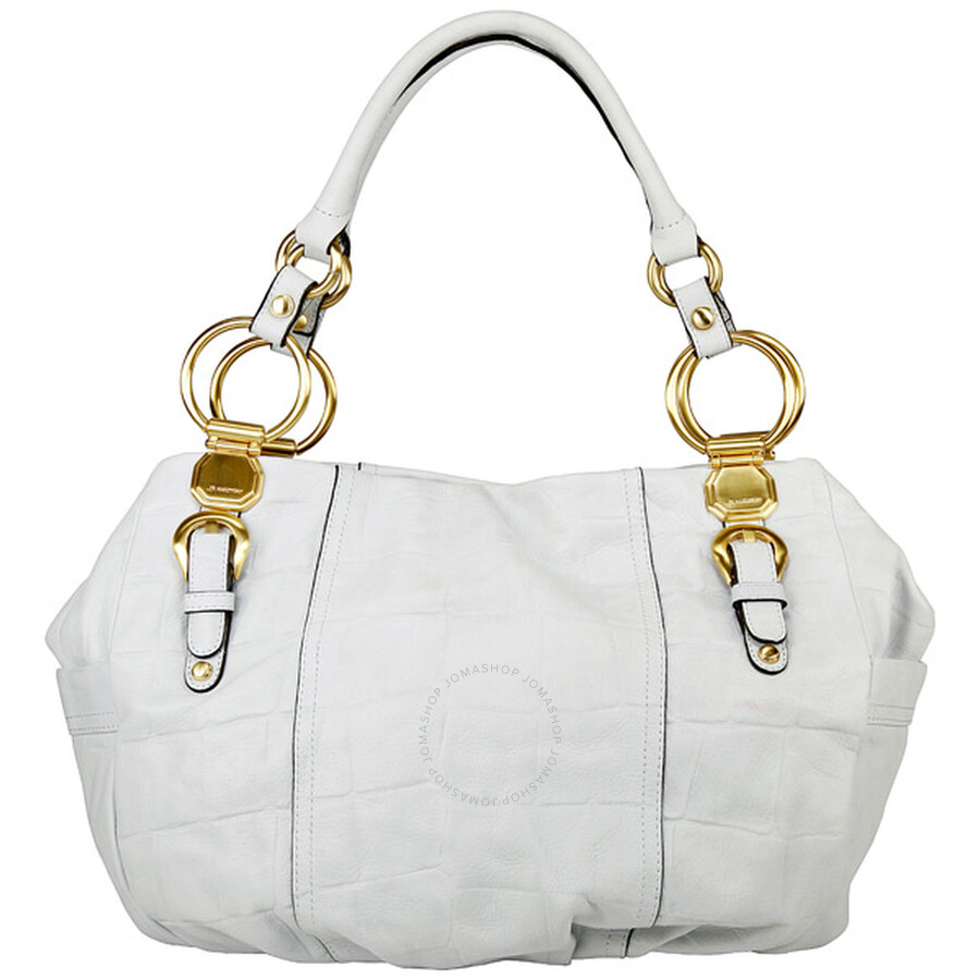 Open Box - B Makowsky Corinth White Leather Tote BM12920-WH