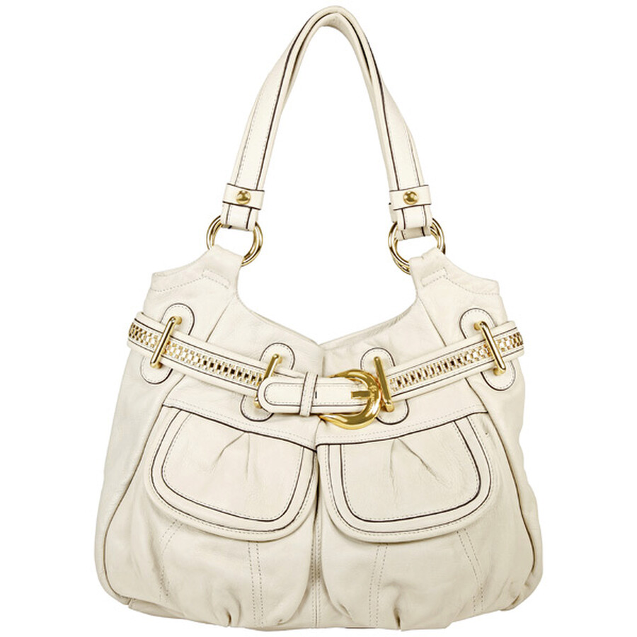 Open Box - B Makowsky Stamford Off White Leather Hobo Bag at Jomashop.com & JomaDeals.com