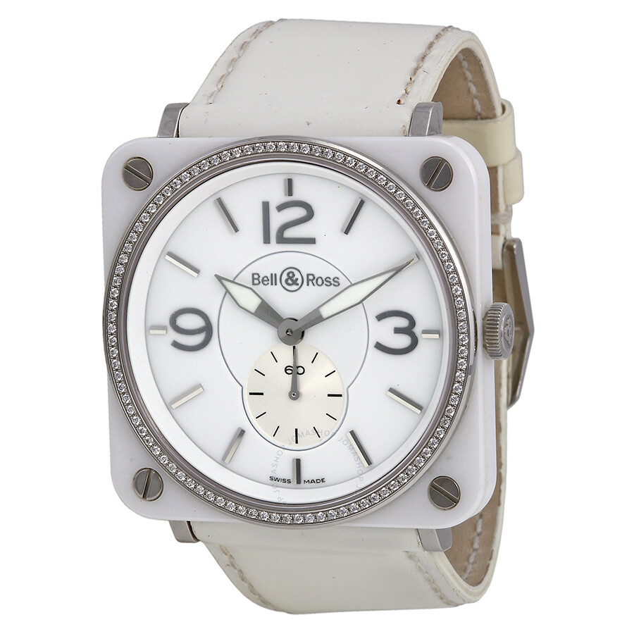 Open Box - Bell & Ross Aviation Diamond White Ceramic Ladies Watch BRS-98-WCS