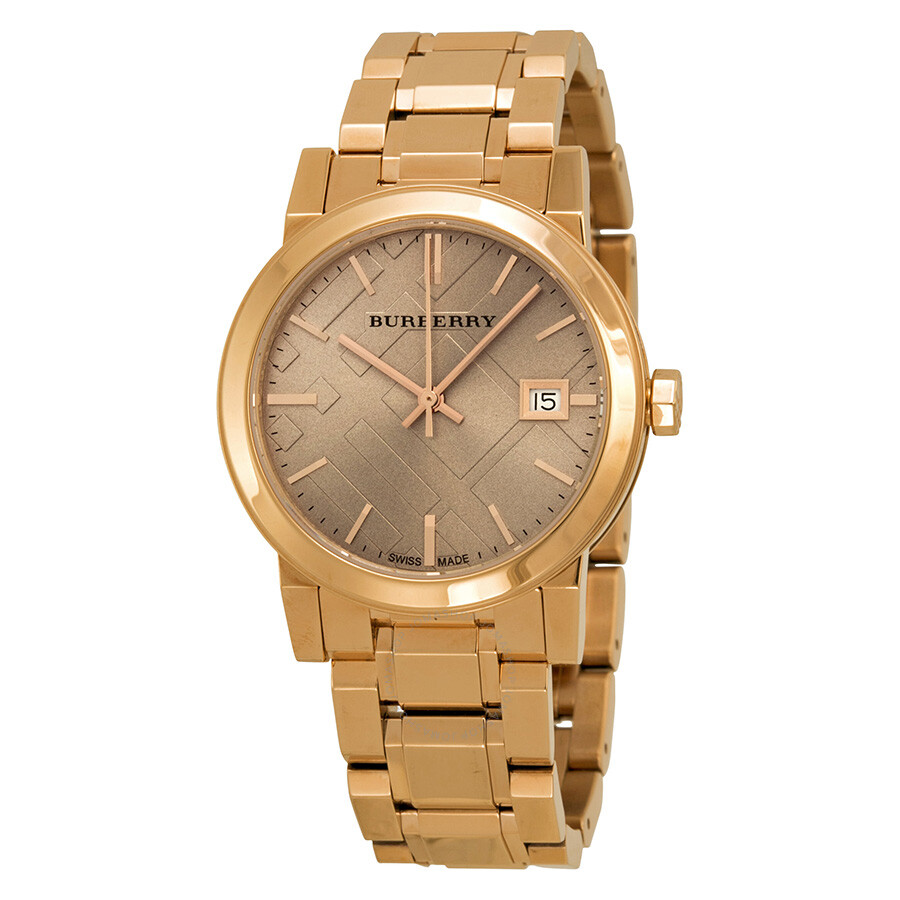 Open Box - Burberry The City Rose Dial Rose Gold-tone Ladies Watch BU9135