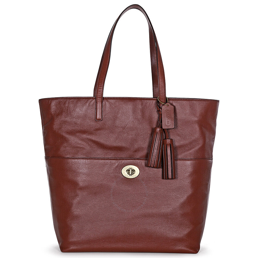 Open Box - Coach Legacy Leather Turnlock Tote Shoulder Bag - Cognac Brown