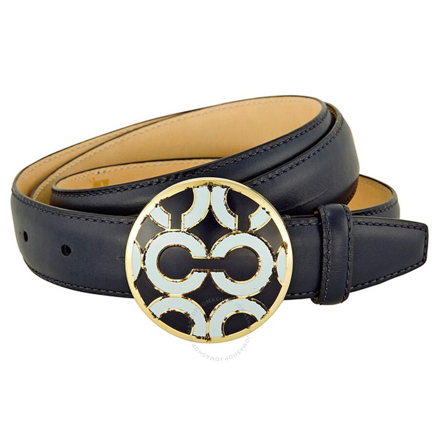 Open Box - Coach Navy Leather Belt 90111NV-L