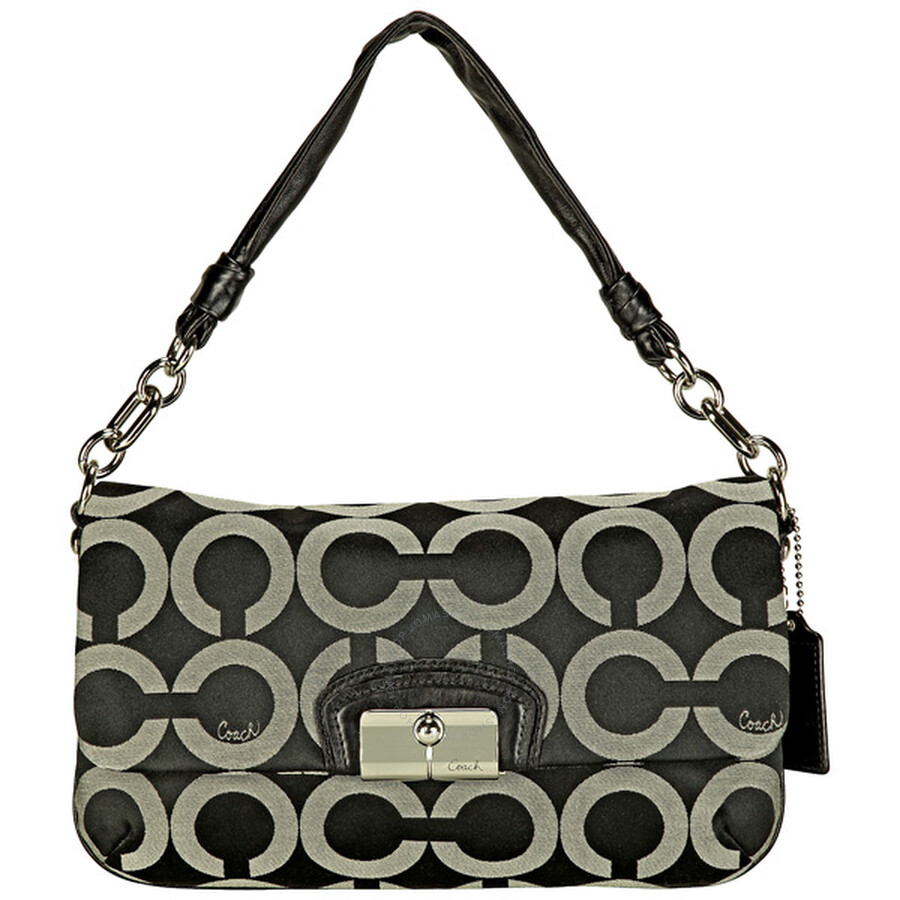 Open Box - Coach Op Art Flap Black Sateen Purse 14788SBWBK at Jomashop.com & JomaDeals.com