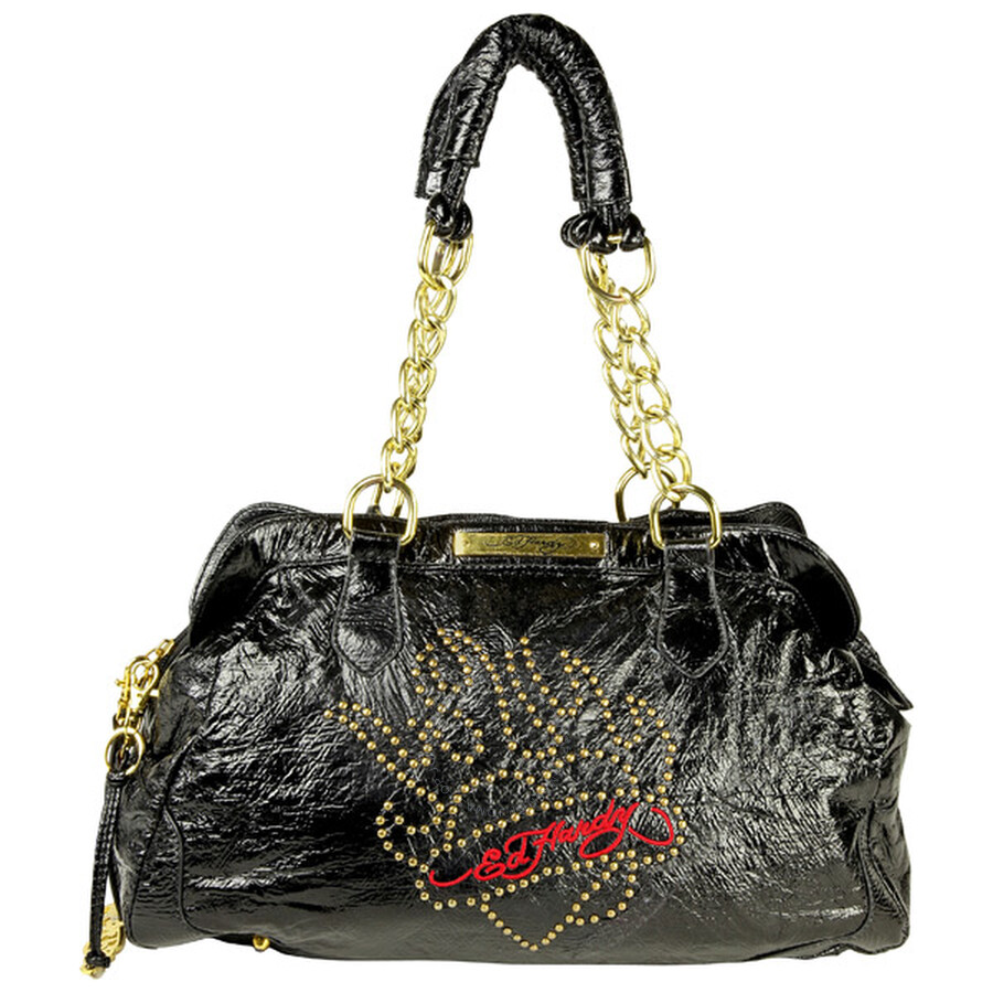 Open Box - Ed Hardy Black Plastic Leather Barbara Shoulder Bag