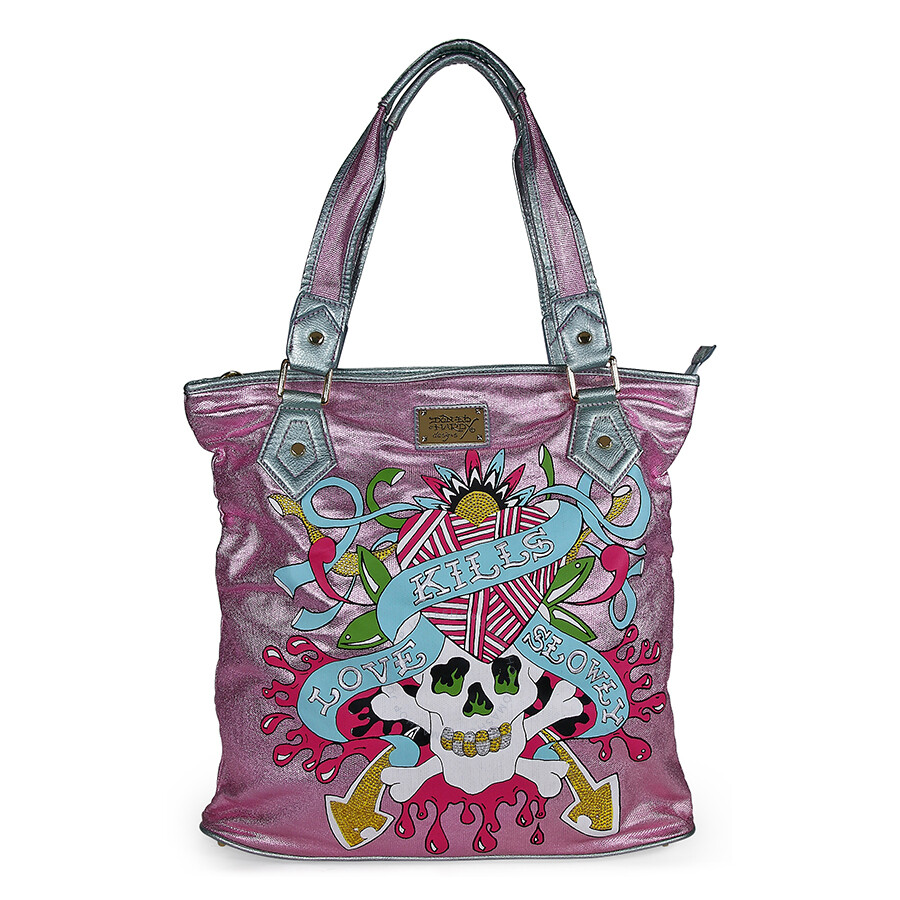 Open Box - Ed Hardy Pink Angeles Tote Bag EHCOANG0072-PK