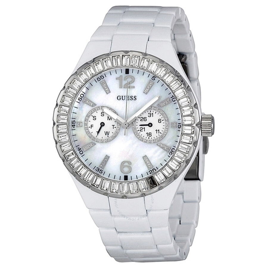 Open Box - Guess White Stainless Steel Ladies Watch G13552L
