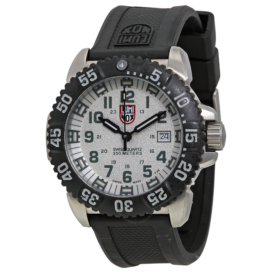 Open Box - Luminox Navy Seal Colormark White Dial Black Rubber Strap Mens Watch 3157