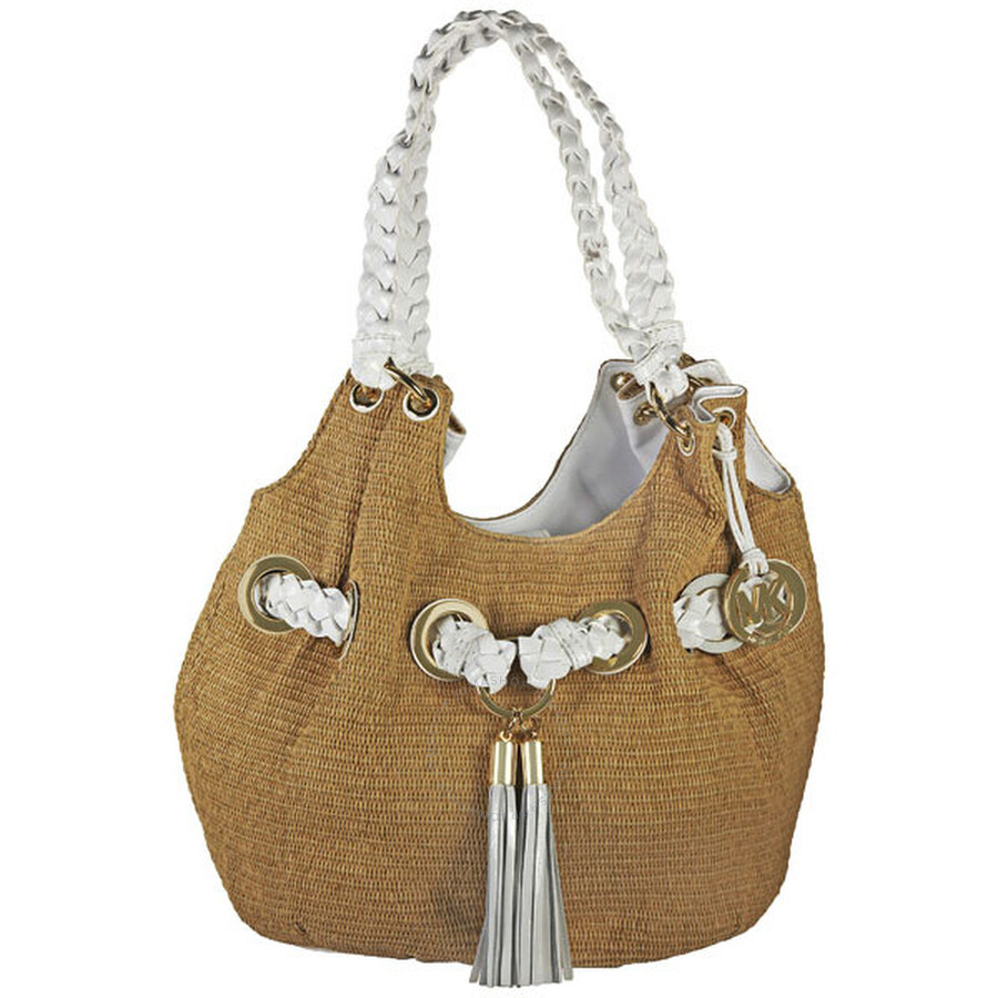 Open Box - Michael Kors Basket Woven Stray Shoulder Tote