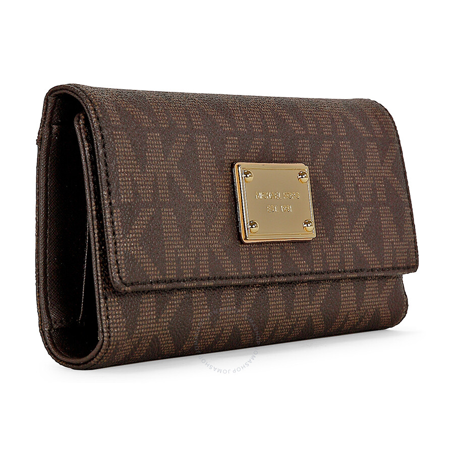 640594ae61f1 ... Open Box - Michael Kors Jet Set Checkbook Wallet in Brown ...