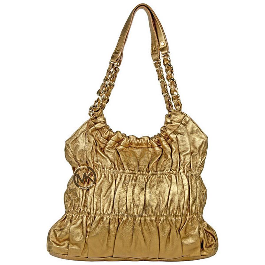 Open Box - Michael Kors Large Gold Leather Shoulder Tote Bag