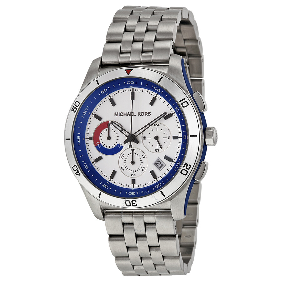 michael kors male 262845 open box michael kors outrigger chronograph silver and blue dial stainless steel mens wa