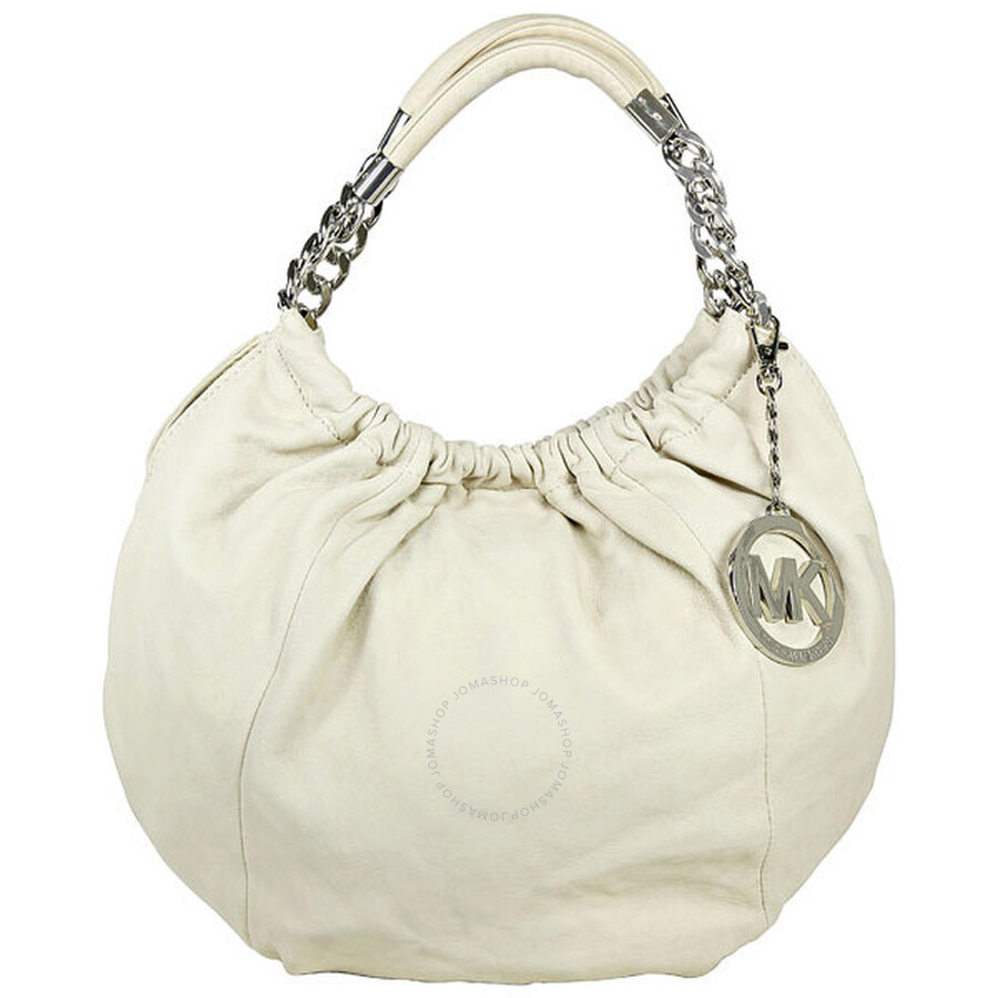 Open Box - Michael Kors White Leather Shoulder Tote