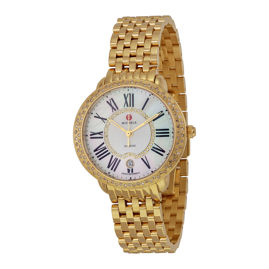 Open Box - Michele Serein White Mother of Pearl Dial 18kt Gold-plated Ladies..