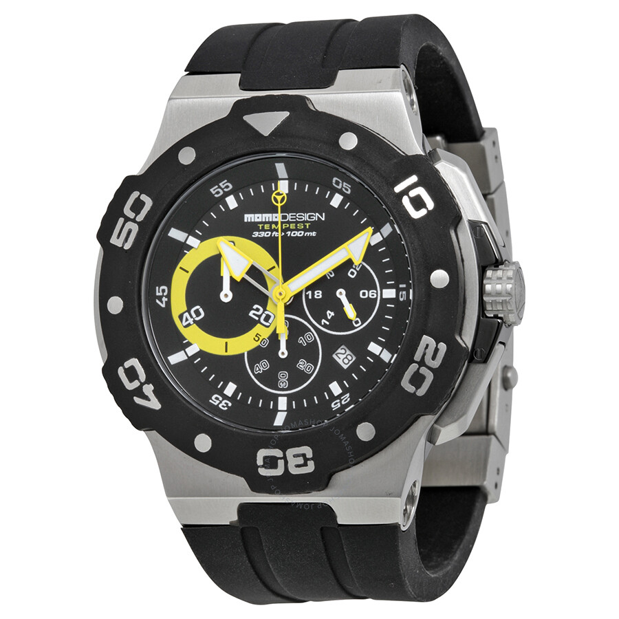 Open Box - Momo Design Tempest Chronograph Black Dial Black Rubber Mens Watch MD1004SS-31