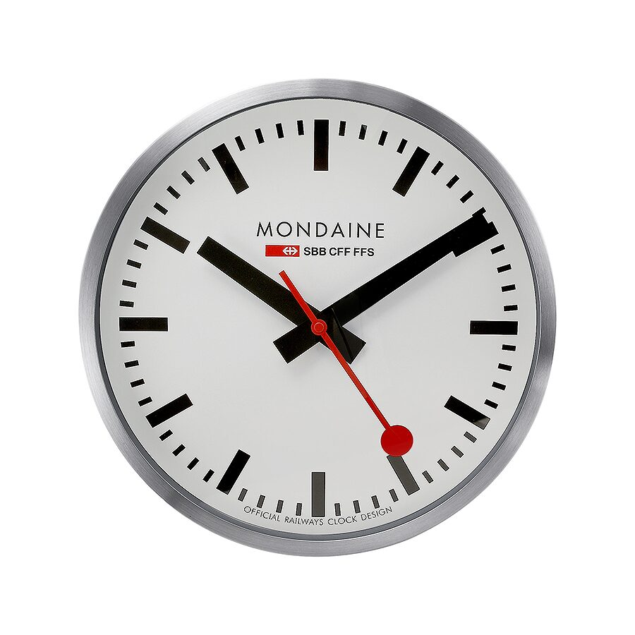 Open Box - Mondaine White Dial Metal Frame 400mm Wall Clock A995. CLOCK.16SBB