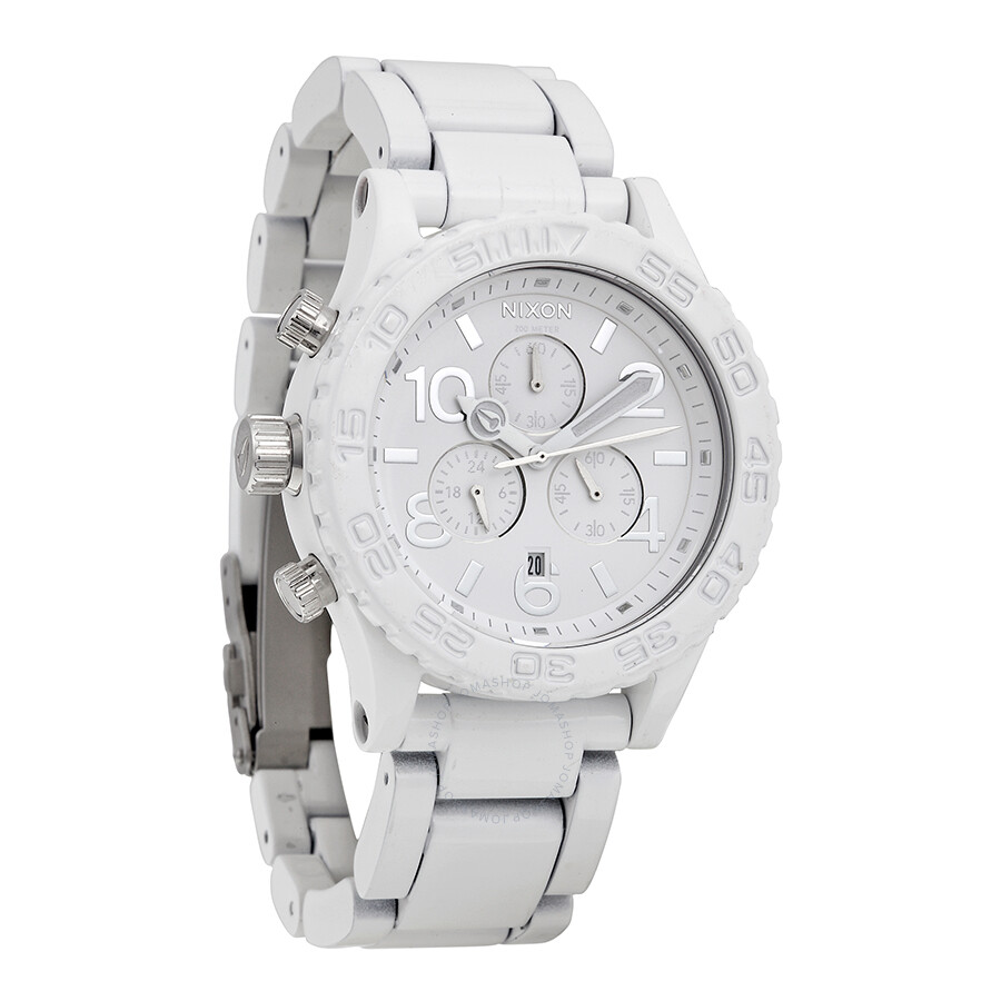 Open Box - Nixon 42-20 Chronograph White and Silver Mens Watch A0371255