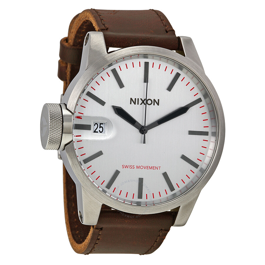 Open Box - Nixon Chronicle Silver Dial Stainless Steel Brown Leather Mens Watch A127-1113