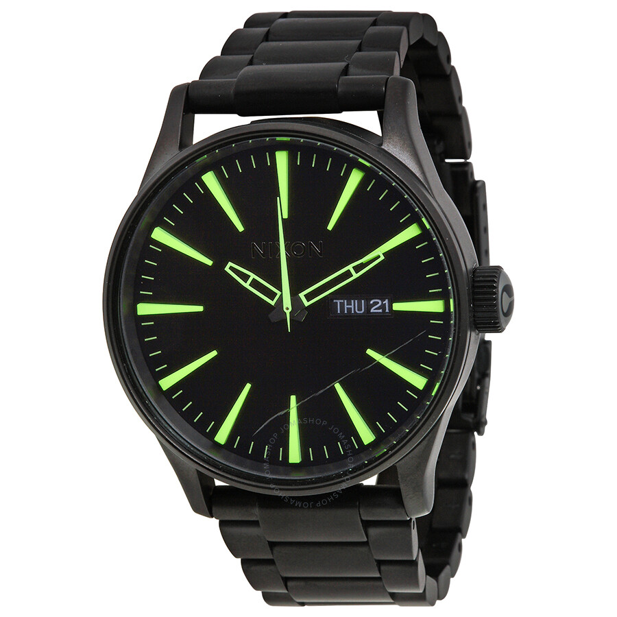 Open Box - Nixon Sentry Black and Luminous Dial Black IP Stainless Steel Mens Watch A3561256