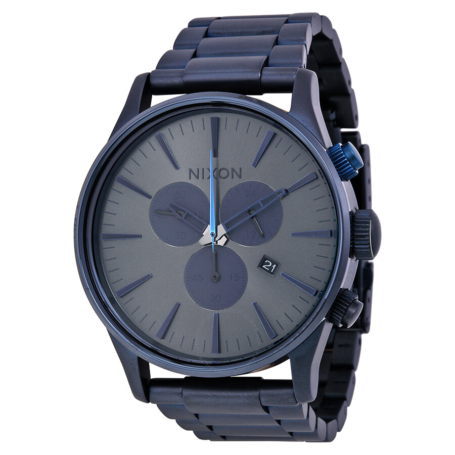 Open Box - Nixon Sentry Chronograph Deep Blue Dial Deep Blue Ion-plated Mens Watch A3861679