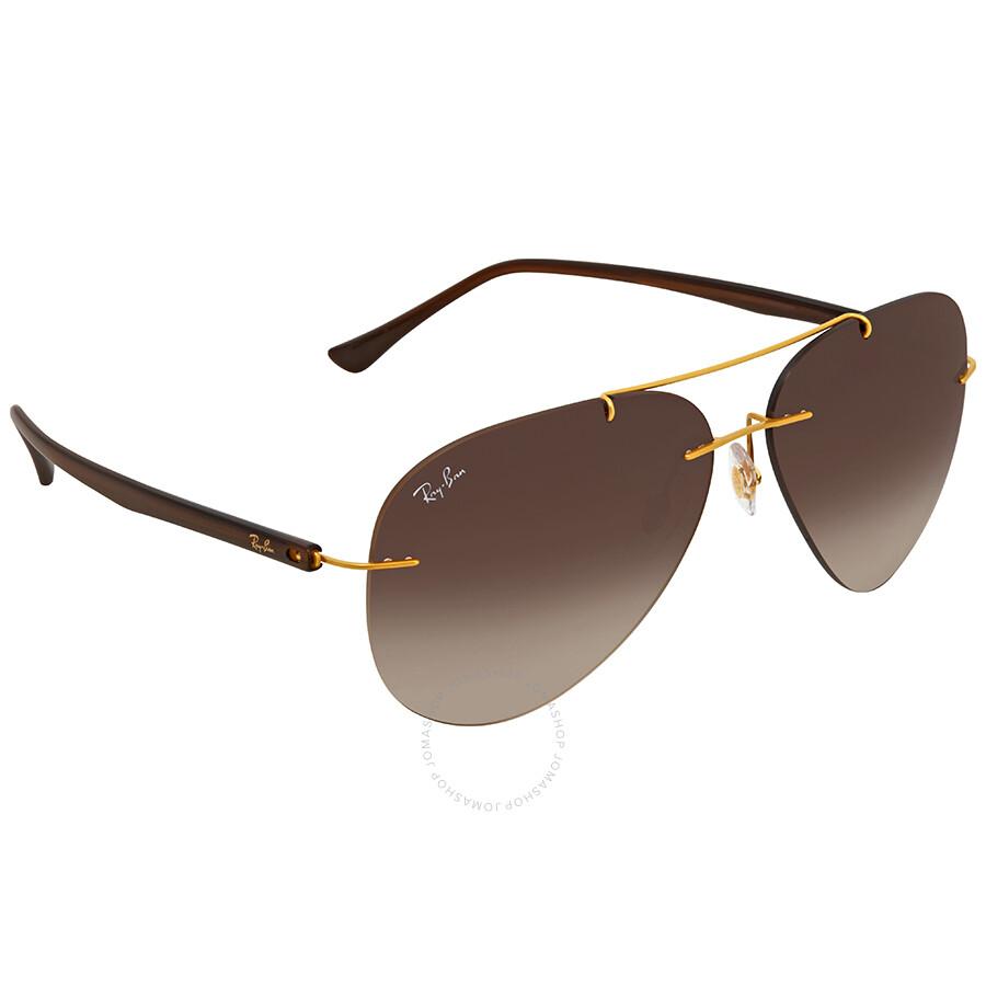 Open Box - Ray Ban Brown Gradient Aviator Mens Sunglasses RB8058 157/13 59