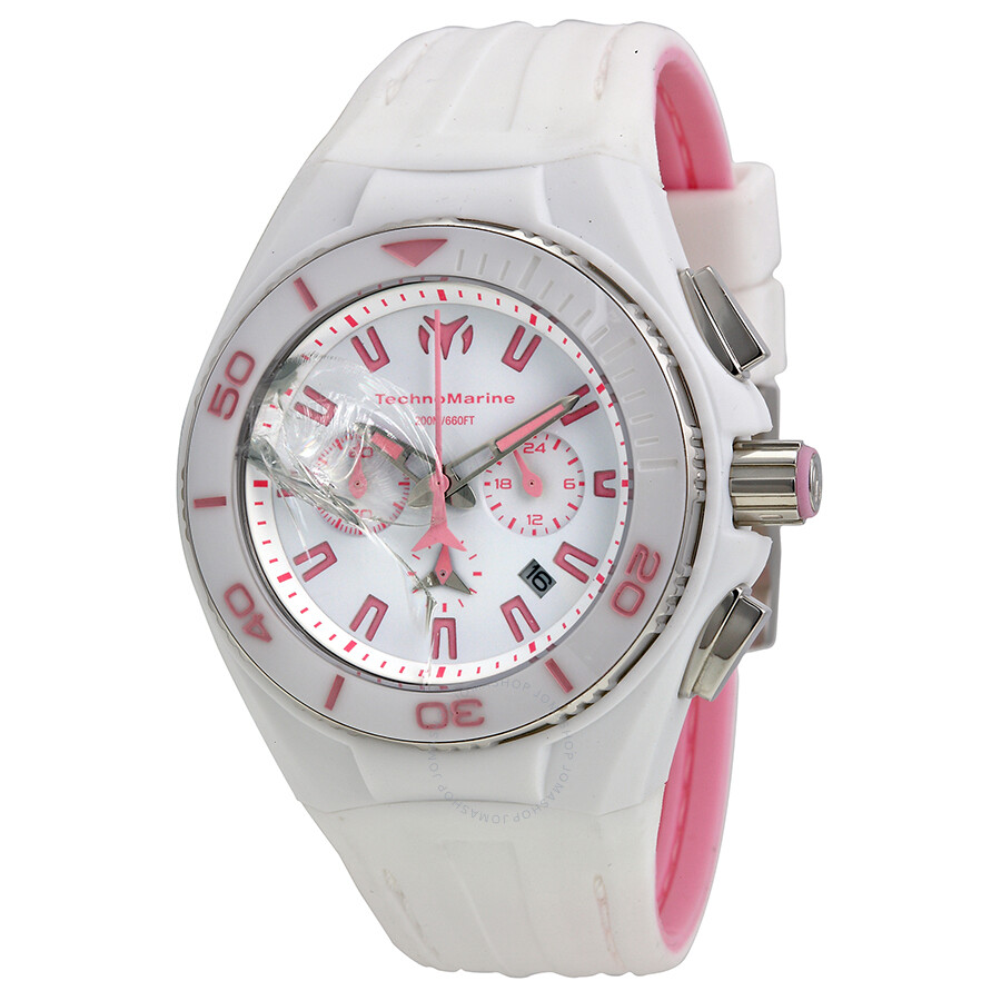 Open Box - Technomarine Cruise Vision II White Dial White Rubber Ladies Watch 113012