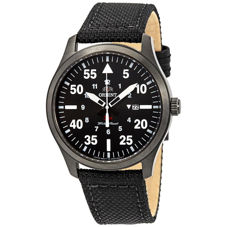 Orient Flight Black Dial Black Leather Men's Watch ...
