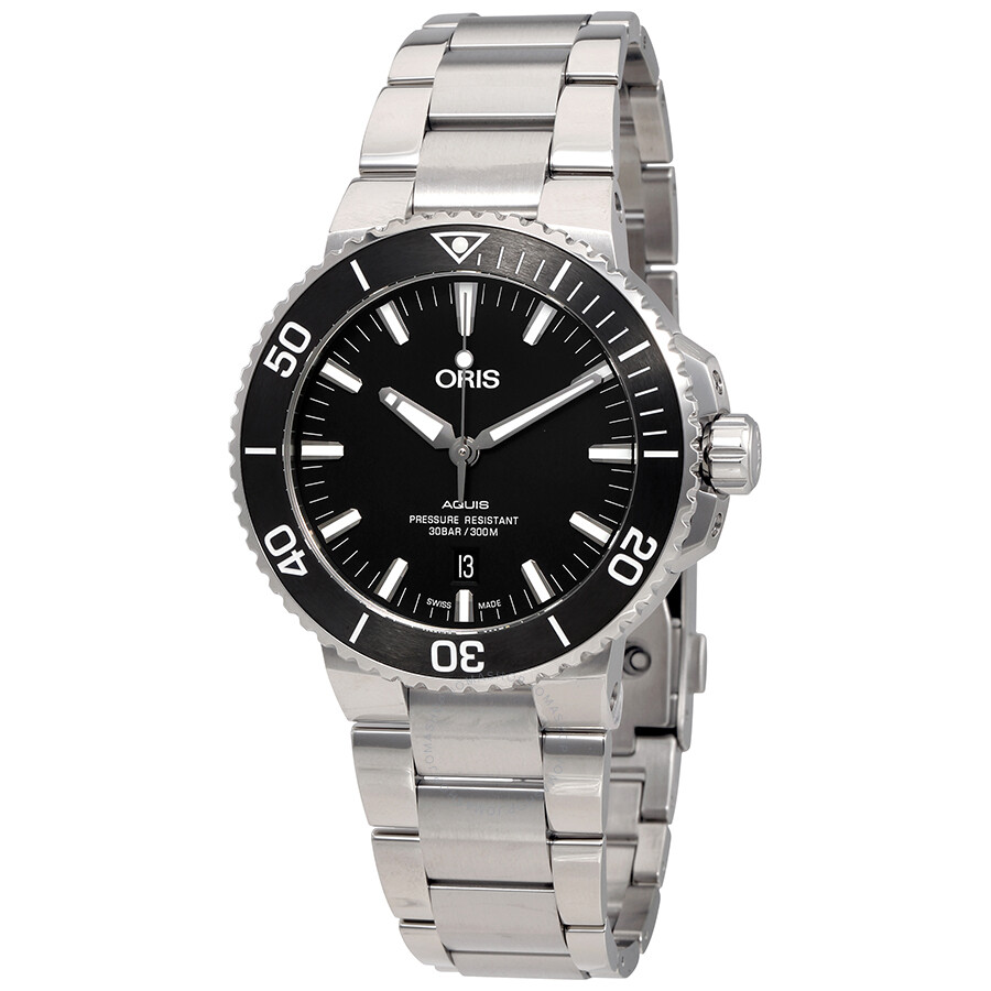 black s watch automatic dial men oris watches aquis