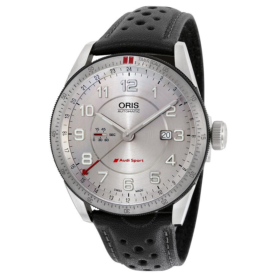 Oris Artix Audi Sport GMT Automatic Silver Dial Black Leather Mens - Audi watch