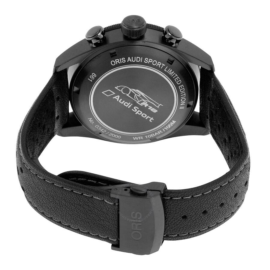 ... Oris Artix GT Audi Sport Chronograph Black Dial Black Leather Watch 778- 7661-7784SET