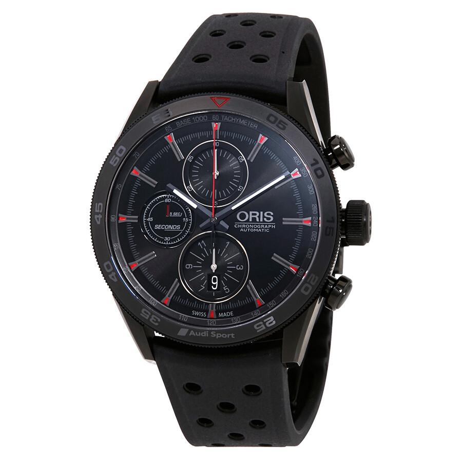 Oris Audi Sport Black Dial 's Chronograph Rubber Watch 01 774 ...