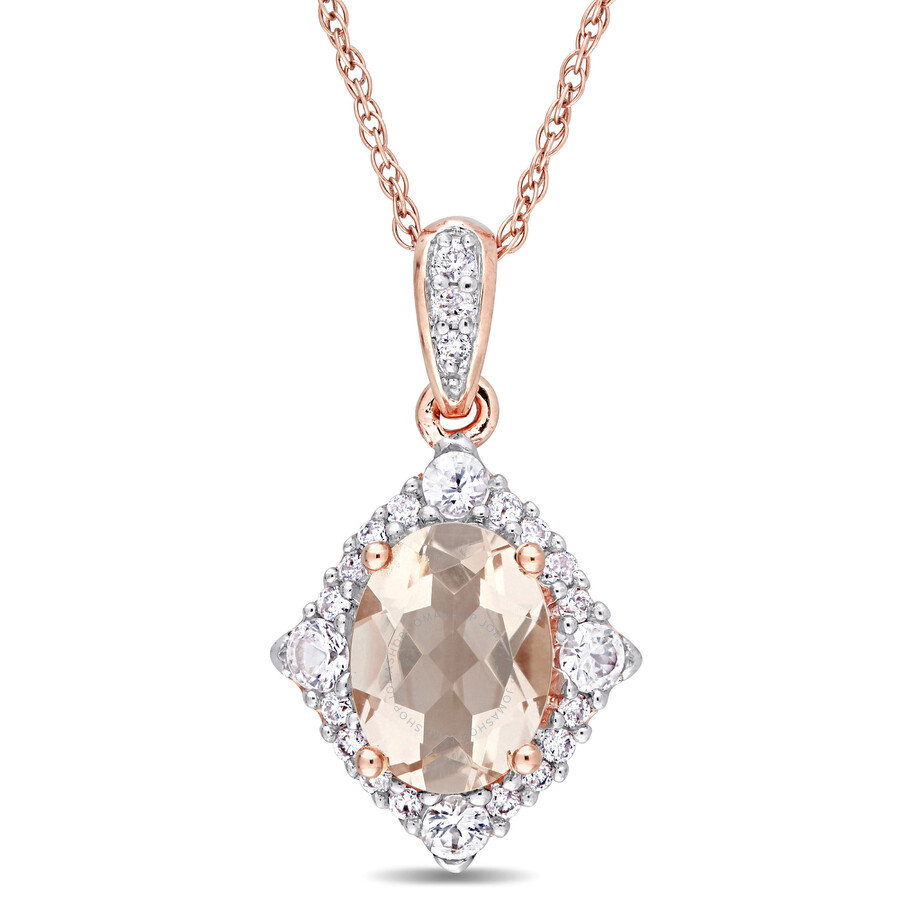 Oval Shape Morganite and White Sapphire and Diamond Halo Pendant with Chain ..