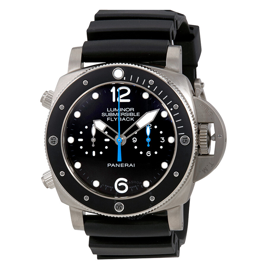 with watches black luminor on in rubber essential pam watch main steel panerai submersible dial strap