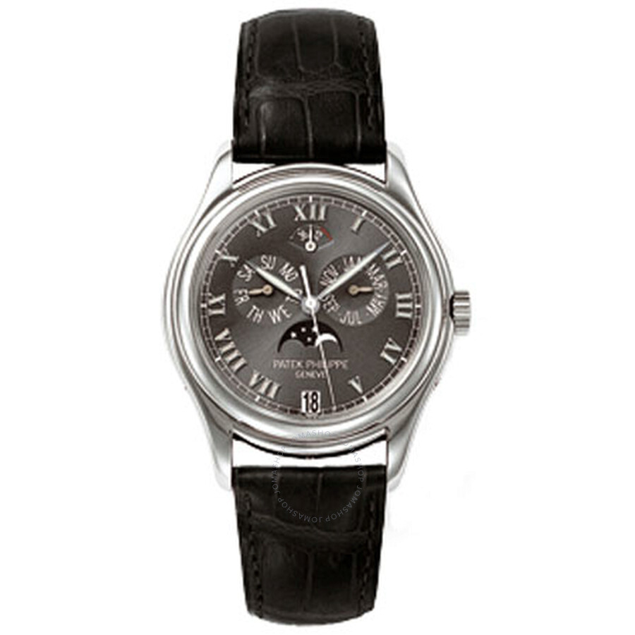Patek Philippe Annual Calender Moonphase Black Dial Black Leather Automatic Mens Watch 5056P