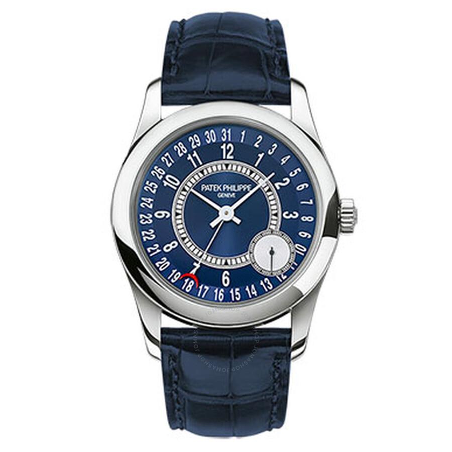 Patek Philippe Calatrava Blue Dial 18K White Gold Automatic Mens Watch 6000G-012