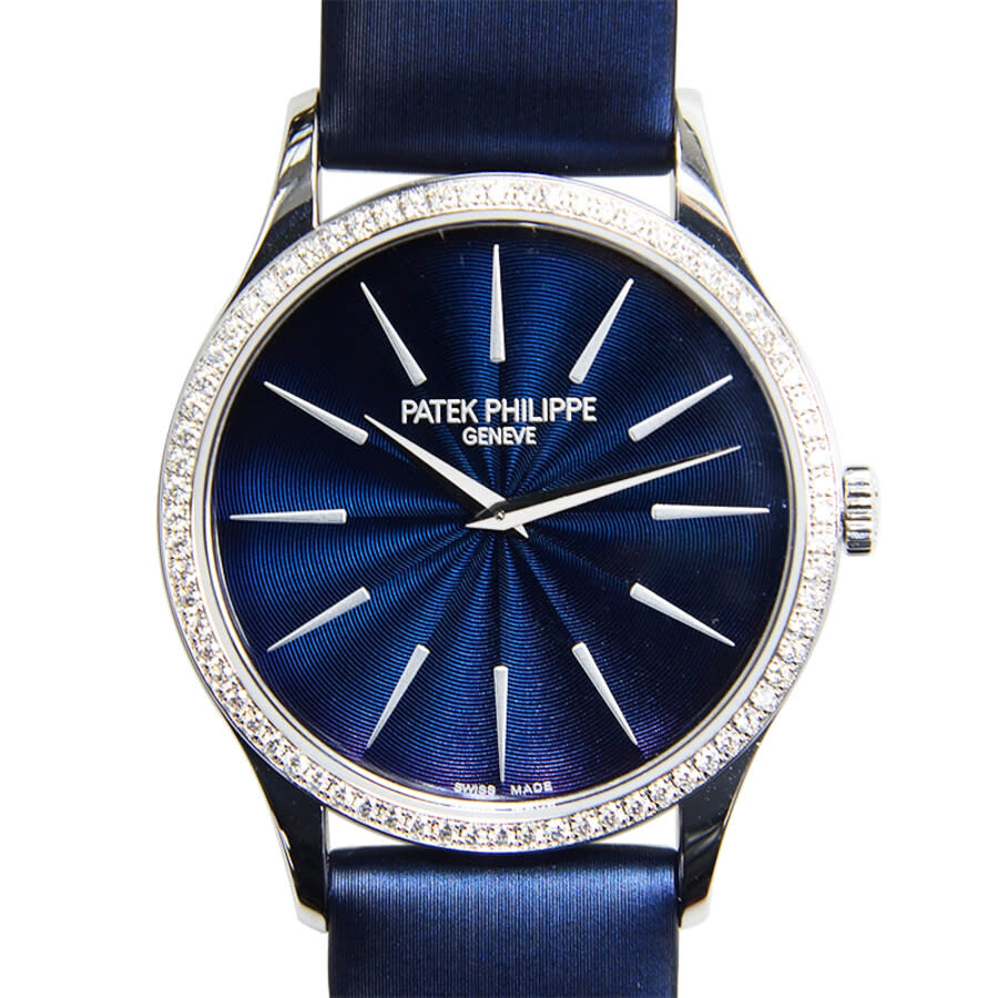 Patek Philippe Calatrava Blue Dial Diamond 18kt White Gold Ladies Watch 4897G-001