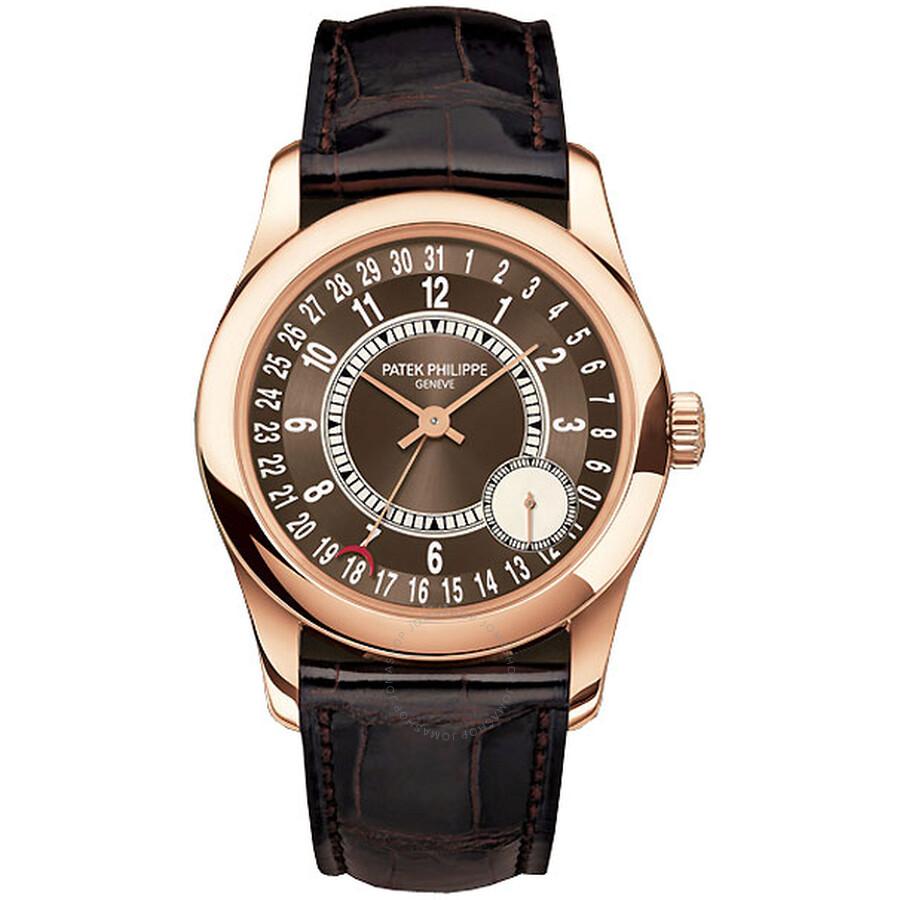 Patek Philippe Calatrava Brown Dial 18K Rose Gold Mens Watch 6000R-001