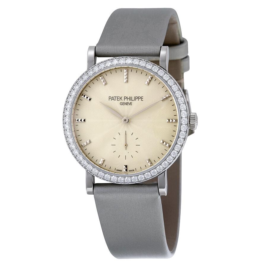 Patek Philippe Calatrava Cream Guilloche Dial 18kt White Gold Diamond Ladies Watch 7120G-001
