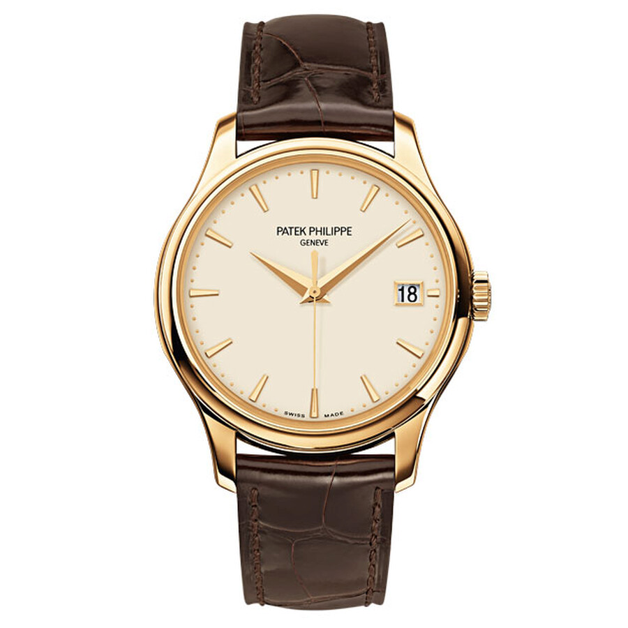 Patek Philippe Calatrava Ivory Dial 18kt Rose Gold Brown Leather Mens Watch 5227J