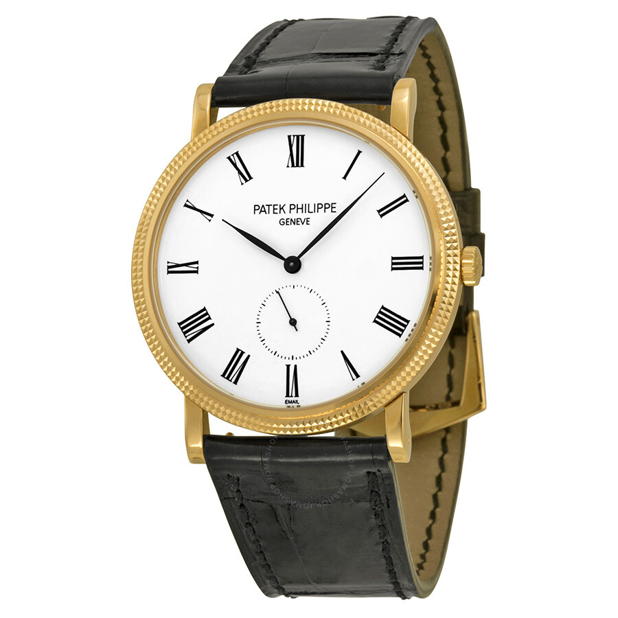 Patek philippe calatrava mechanical enamel dial leather men 39 s watch 5116r 001 calatrava for Patek philippe
