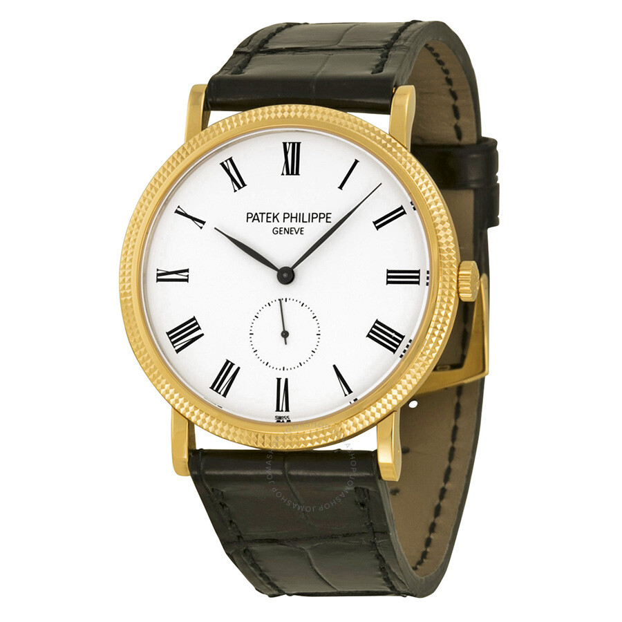 Patek Philippe Calatrava Mechanical White Dial Leather Mens Watch 5119J-001