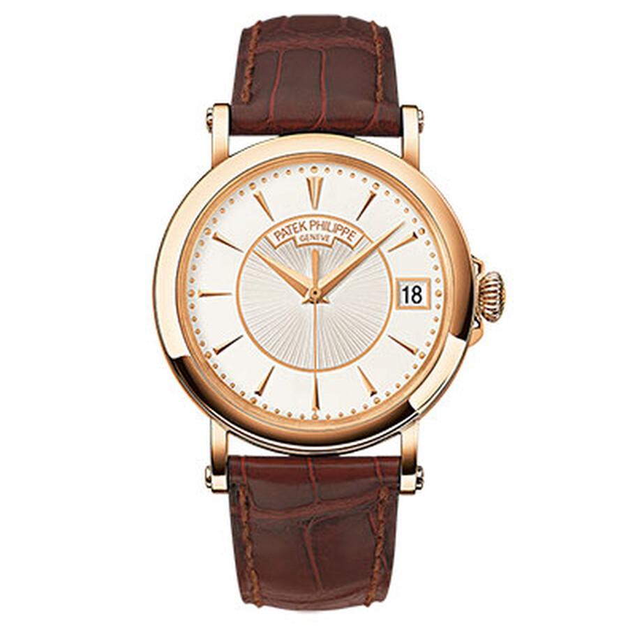 Patek Philippe Calatrava Silvery Opaline Dial 18K Rose Gold Mens Watch 5153R