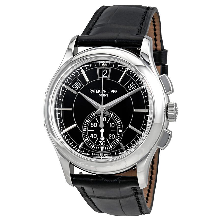 Patek Philippe Complications Black Dial Annual Calendar Platinum Mens Watch ..