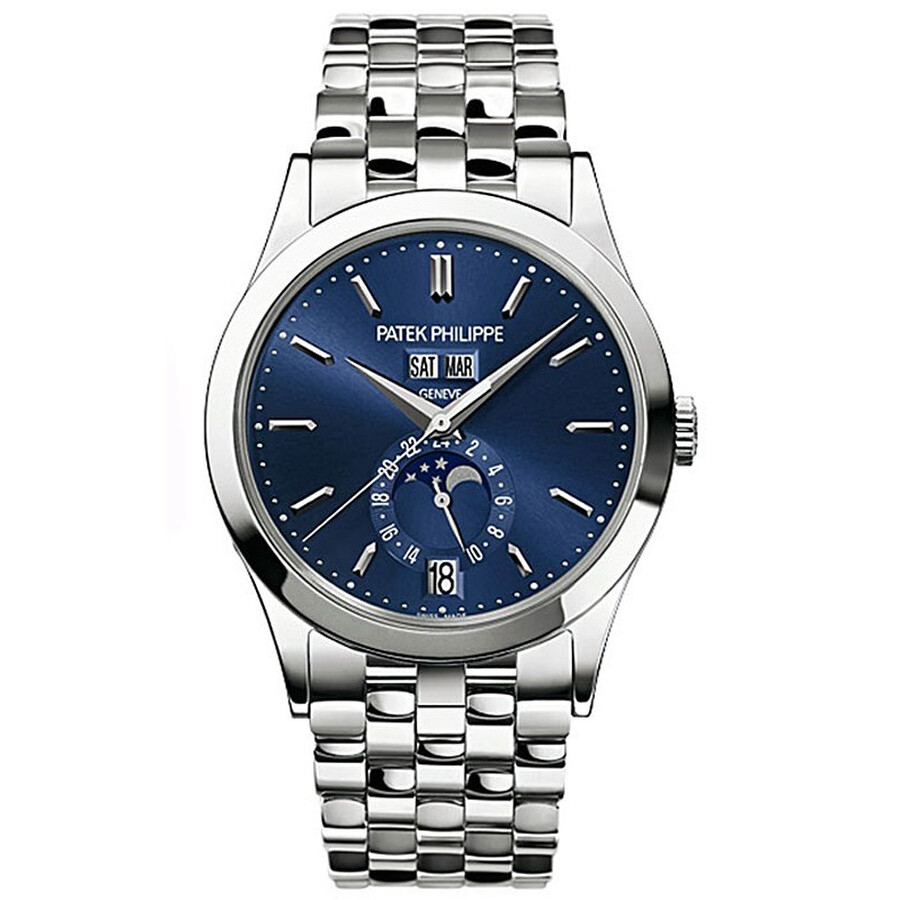 Patek Philippe Complications Blue Dial 18k White Gold Mens Watch 5396-1G