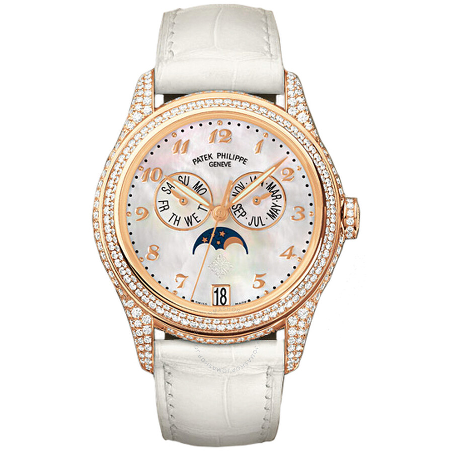 Patek Philippe Complications Mother of Pearl 18kt Rose Gold Diamond Leather Ladies Watch 4937R