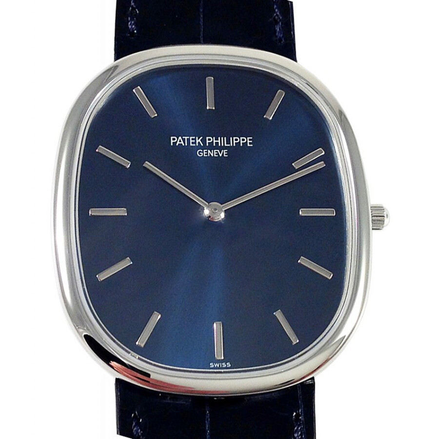 Patek Philippe Golden Ellipse Blue Sunburst Dial Automatic Mens Watch 5738P