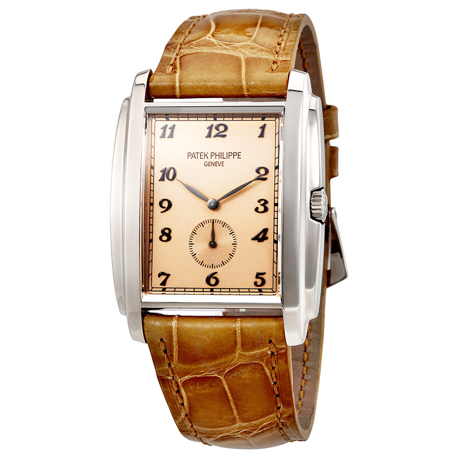 Patek Philippe Gondolo Manua Vintage Rose Dial Leather Mens Watch 5124G-001