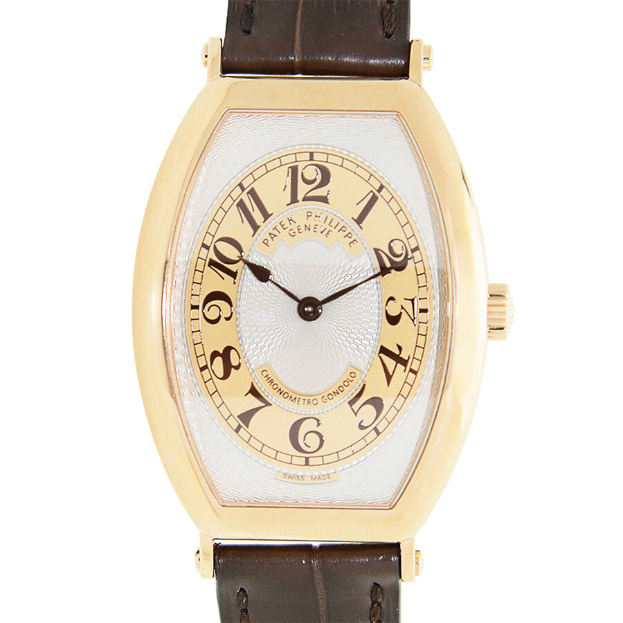 Patek Philippe Gondolo Silver Brown Dial 18kt Rose Gold Brown Leather Mens Watch 5098R