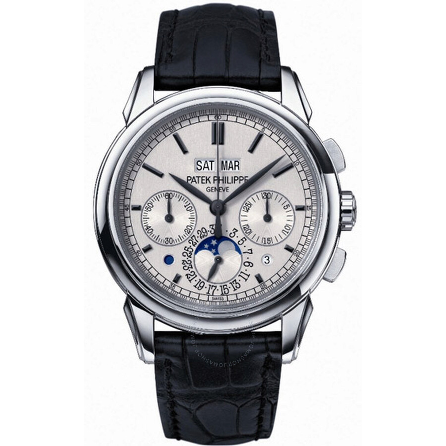 Patek Philippe Grand Complication Silver Dial Chronograph 18kt White Gold Black Leather Mens Watch 5