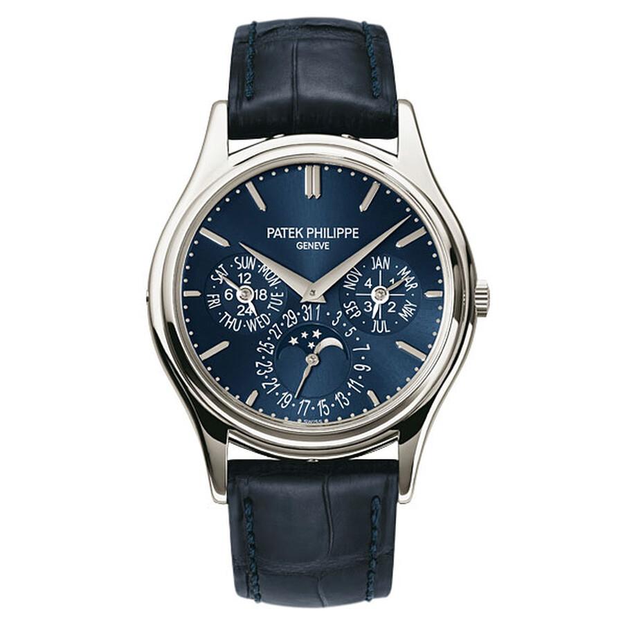 Patek Philippe Grand Complications Blue Dial Platinum Blue Leather Mens Watc..